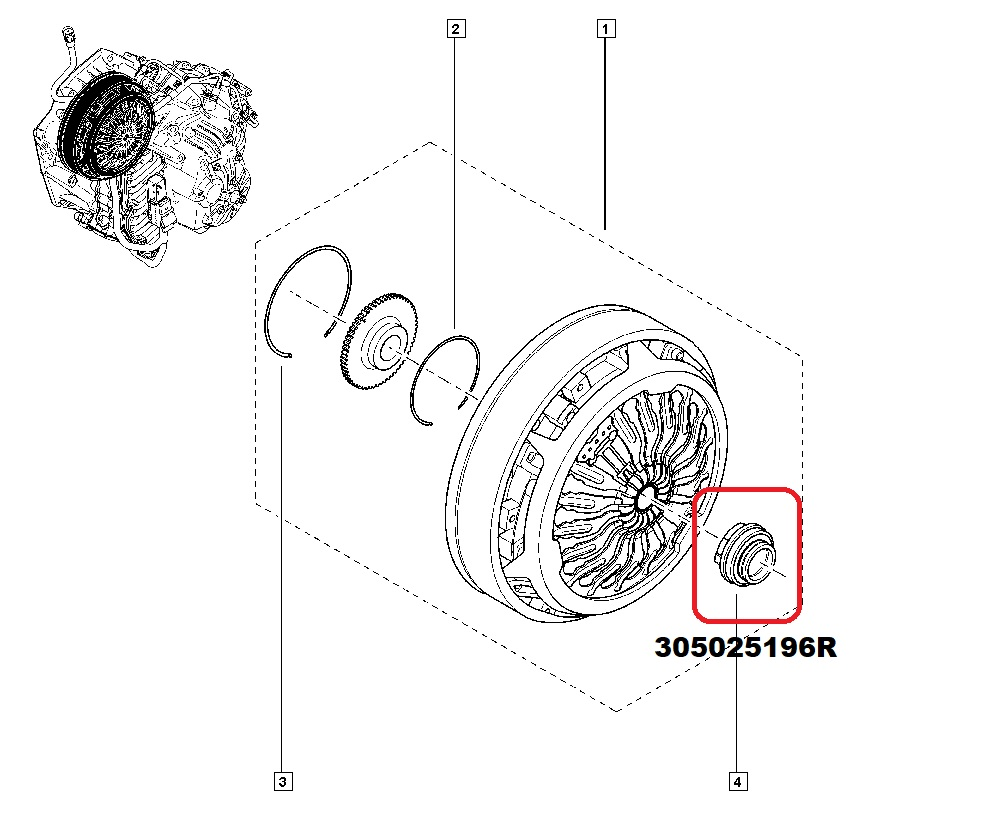 Clutch fork and release bearing kit DCT250 (DPS6) 305739941R 305731189R  305025196R